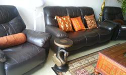 3 +1+1 leather sofa set with reclining chair. Excellent