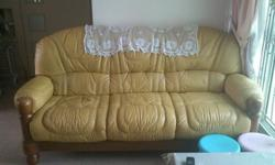 yellow leather sofa used before but go condition,