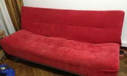 Bright red sofa bed, removable covers, light & easy to