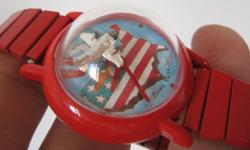 Rare Vintage Men Mystery Winding Watch Moving Airplane
