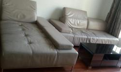Full leather(Genuine) L shaped sofa with coffee table