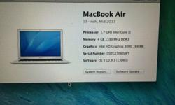 MacBook Air Core i5 1.7 ghz with 4 g ram and 128 g SSD