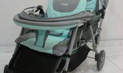 Blue color back to back twins stroller from MamaLove
