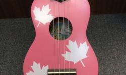 Maple Leaves Pink Ukulele With Free Pick, Bag And