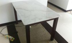 Real marble white top (feels cool on touch) Heavy,