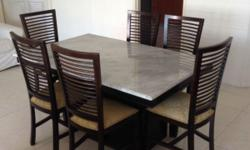 Marble Top Dining Table and 6 Chairs for sale. Good