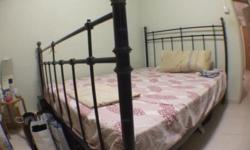 Strong metal queen size bed with mattress. Very good
