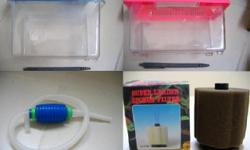 Photo 1: Small fish tank - $2 each (blue and pink)