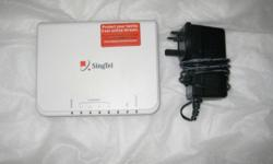 Singtel Aztech modem and cables - power supply and