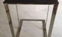 Stainless Steel Legs Leather table top