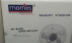 Morries 16 inch desk fan for sale in good condition.