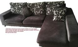 Coffee Brown Fabric Sofa Set pre-loved, in good