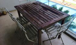 4 to 6 person teak table 120 cm by 80 cm, removable