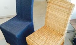 95 cm by 48 cm in perfect condition woven wood chairs.