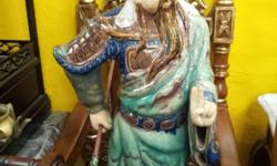 Moving sale Hand made Clay Sculpture Lady & Guangong