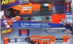 Brand New in Box. Comes with Nerf blaster, 2x 6-dart