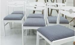 Refurbished 6 White Dining Chairs with 'houndstooth'