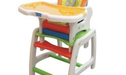 Ultralight high chair with safety harness and easy wipe