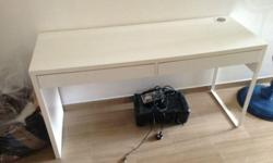 -White color desk with drawers & cable hole. -Size: