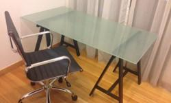 Glass top table and chair for sale. chair: $125 desk:
