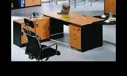 Office desk set in a very attractive beech and black
