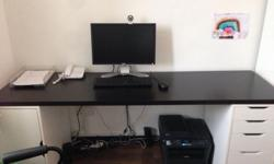 Black and white office desk from IKEA with drawer and