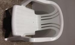 Previously bought white outdoor chairs for pool use.