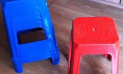 Plastic Stools / Chairs selling cheap @$5/-. Color: Red