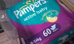 2 bags of pampers size L 60pcs for $18 each. Take both