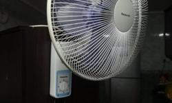 Panasonic Electric Wall Fan F-MU403 3 speed on/off pull