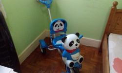 Panda tricycle in blue color with controlling through