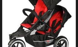 Phil n Teds black pram with red toddler seat that
