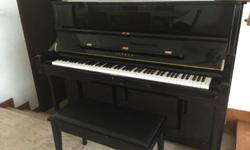 YAMAHA Upright U1 piano, black color, made in Japan,