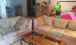 Picket & Rail Sofa Set (3+2) plus wrought iron coffee