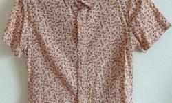 Pre-loved, retro-print, short sleeve, button front