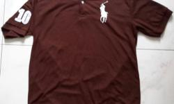 Polo Brown polo t shirt. Number 10 sign on its right