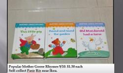 Popular Mother Goose Rhymes 9/10. $1.50 each