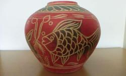 Beautiful Red Lucky Pot with Fish Engravings. Fine