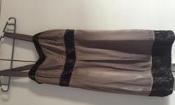 Pretty Grey Silk Material Dress with black lace on the