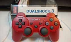 PS3 dualshock wireless controller. Deep red color, use