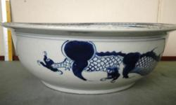 Qing Dynasty blue and white dragon over the wall bowl