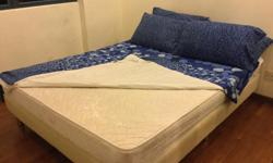 "Relocation sale White bed frame + 7"" tall mattress,"