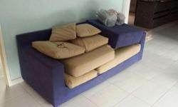 PURPLE L-SHAPED QUILT SOFA with CUSHION INCLUDED Urgent