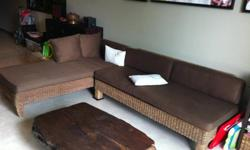 Sofa + daybed ... Made from rare water hyacinth roots.