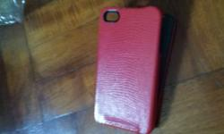 Red leather Iphone 4/ 4S flip cover for sale @ $4. Will