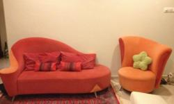 RED & ORANGE SOFA SET (2 + 1 SEATER) FOR SALE $800