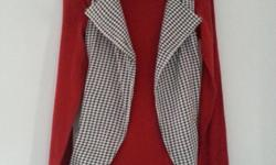 Red Turtle Neck Top With Checkered Vest Size S
