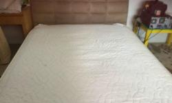Like new Lorenzo Queen size Suede bedframe and