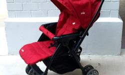 Joie red stroller / pram. Simple one press folding /