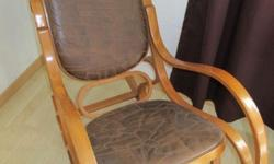 Used rocking chair wood with leather patchwork